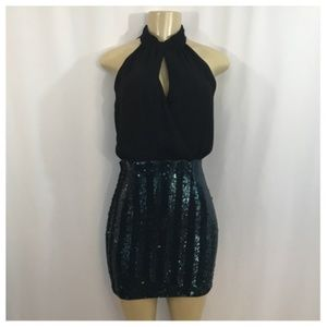 F21 Black & Green Sequin Cocktail Dress Small